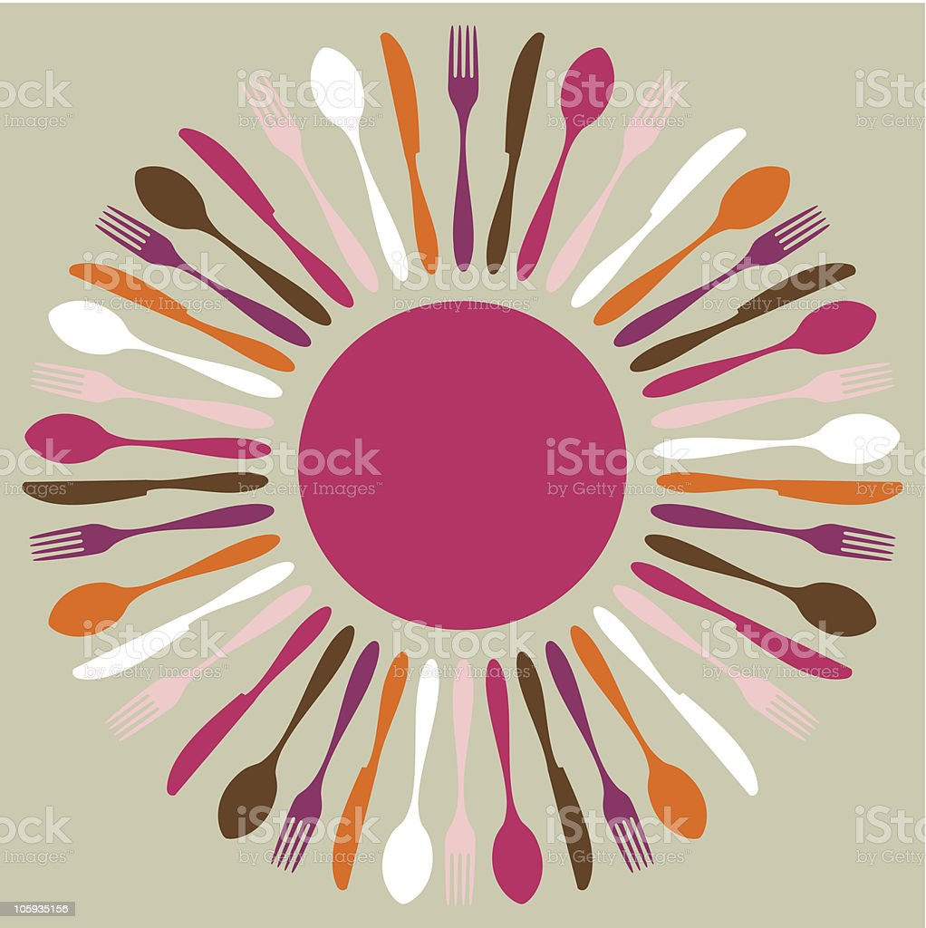 Warm toned cutlery silhouettes contemporary pattern royalty-free stock vector art