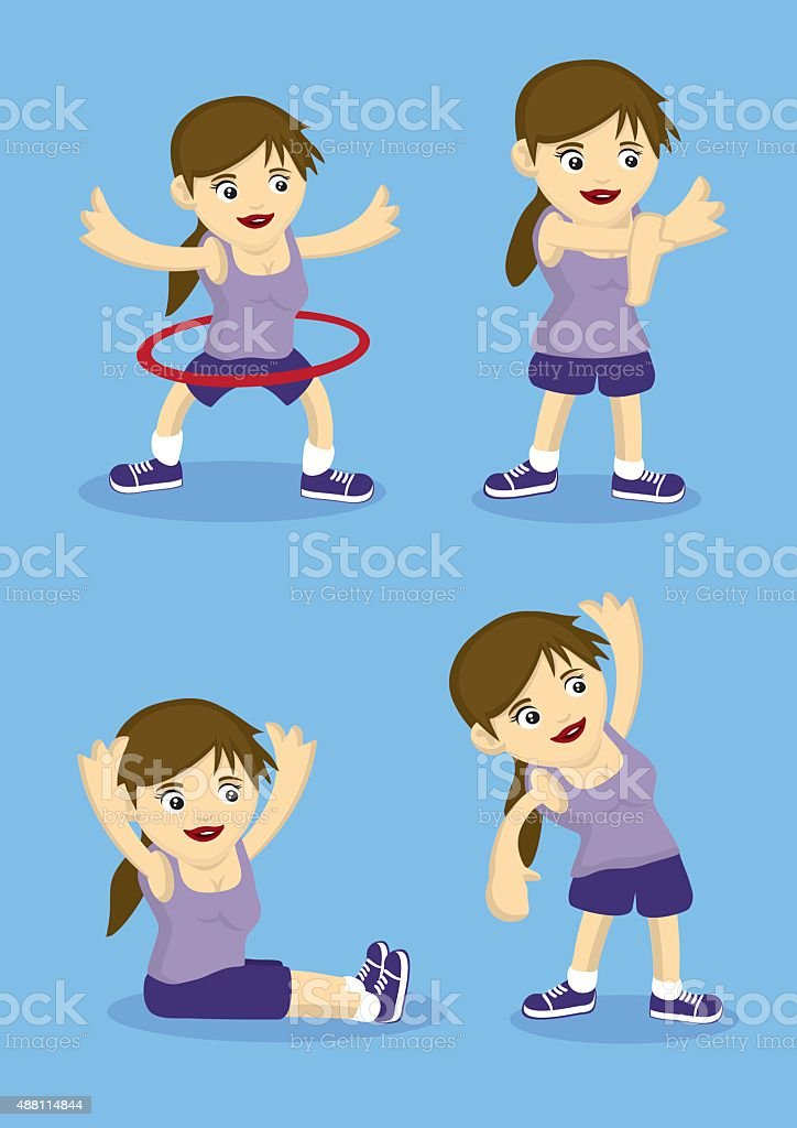 Warm Up and Stretching Exercises Vector Illustration vector art illustration