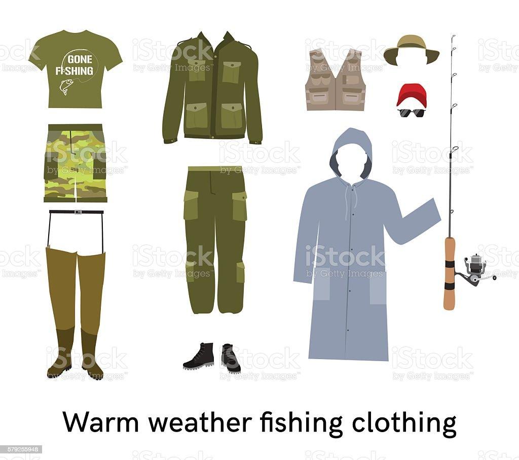 Warm weather fishing clothes flat vector set vector art illustration
