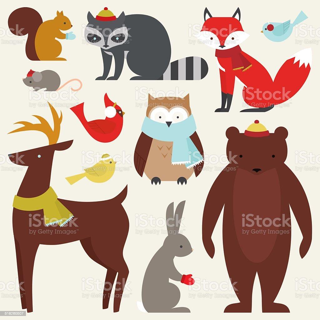 Warm, Winter Creatures vector art illustration