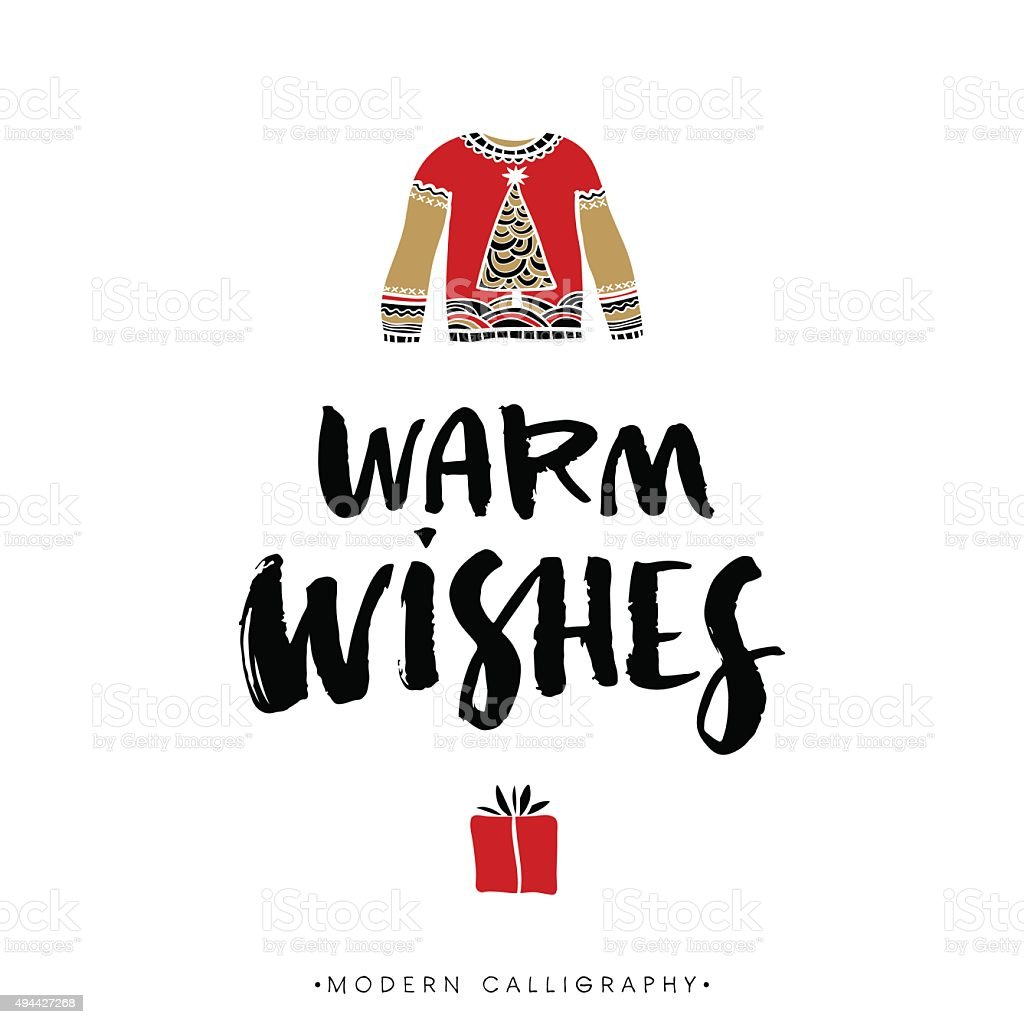Warm wishes. Christmas calligraphy. vector art illustration