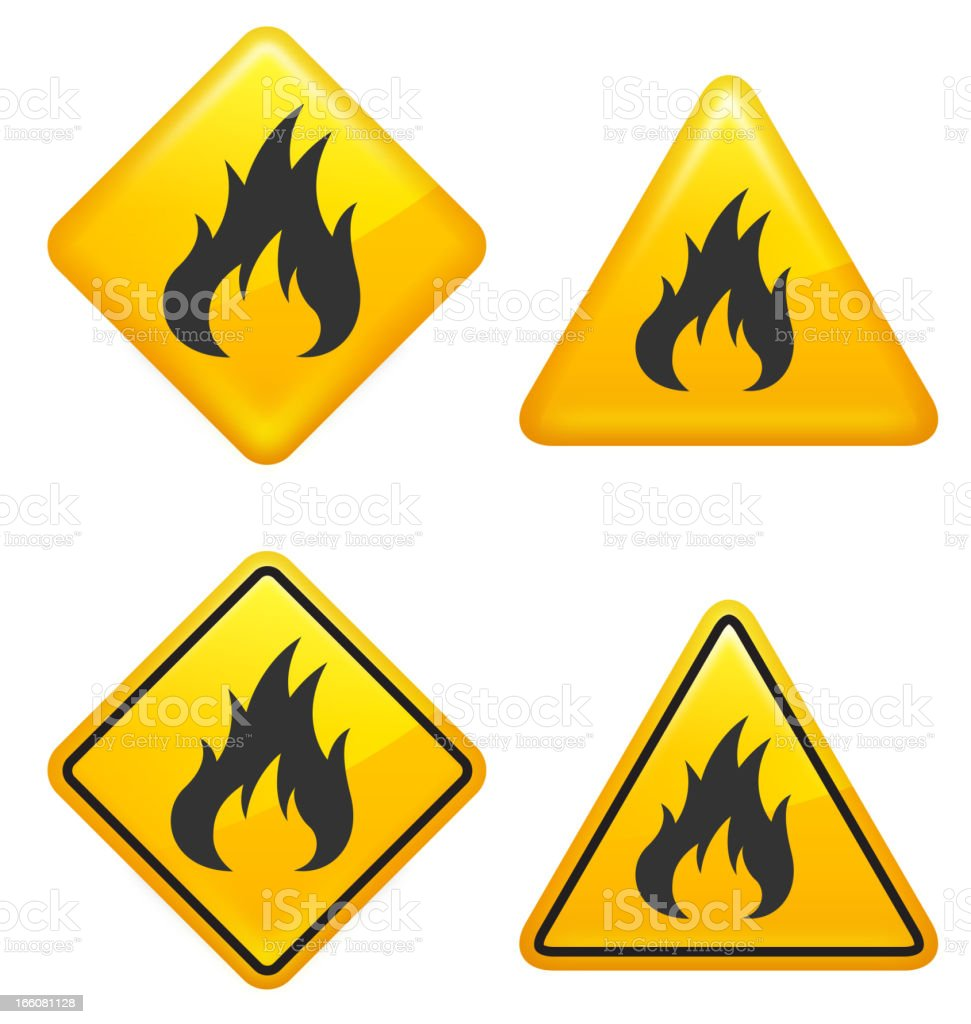 Warning and Caution Fire Street Signs vector art illustration