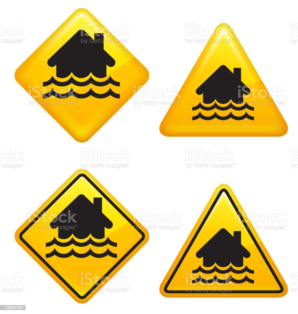 Warning and Caution Flooding Street Signs royalty-free stock vector art