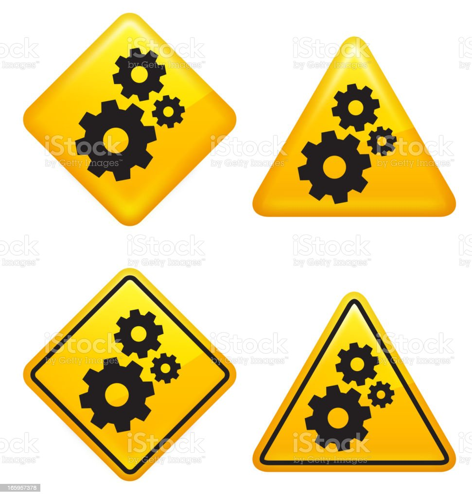 Warning and Caution Gear Street Signs vector art illustration