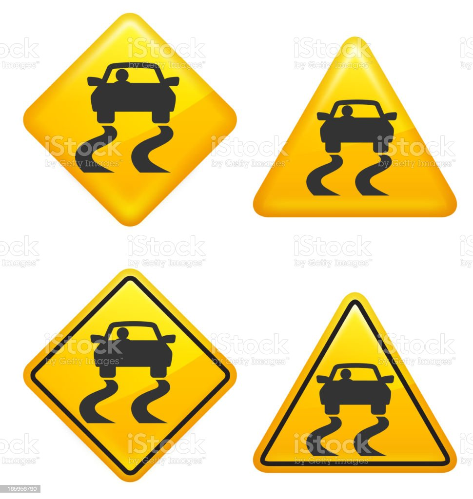Warning and Caution Slippery Road Street Signs royalty-free stock vector art