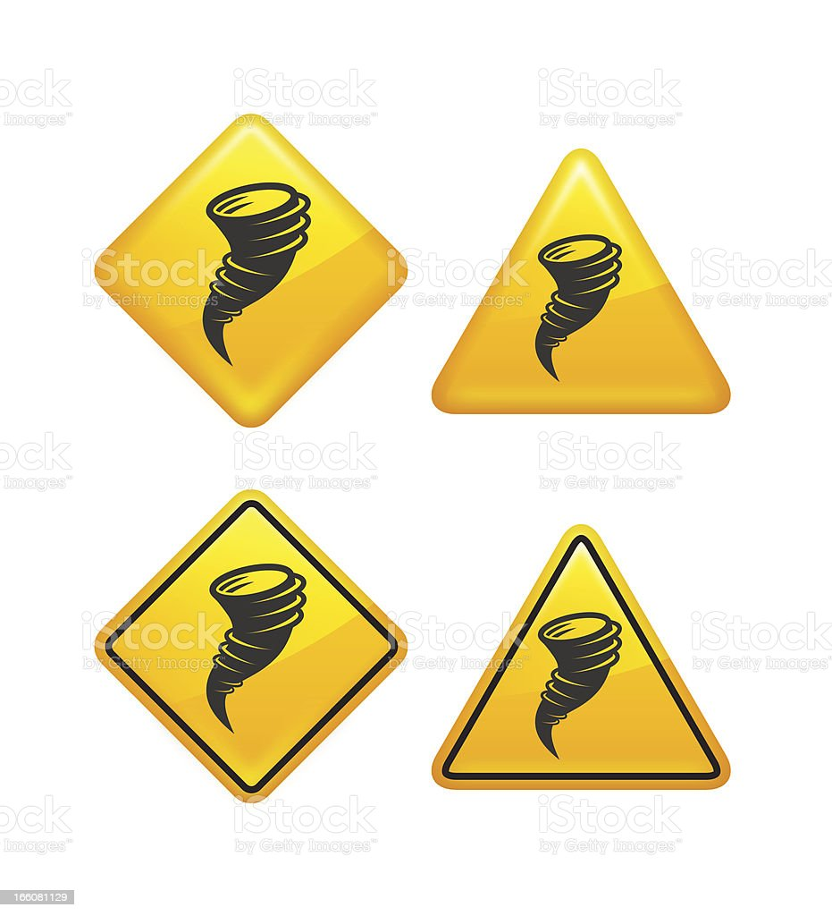 Warning and Caution Tornado Street Signs royalty-free stock vector art