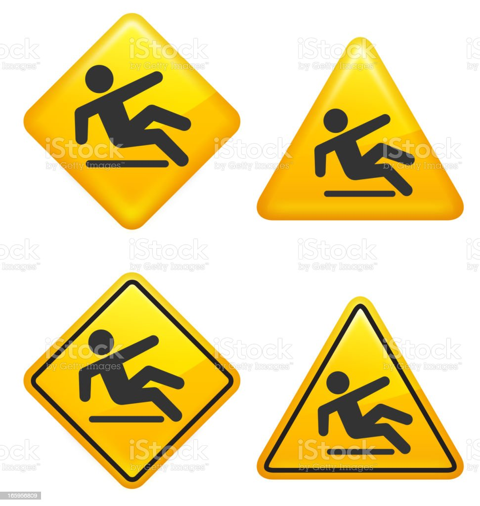 Warning and Caution Wet Floor Street Signs royalty-free stock vector art