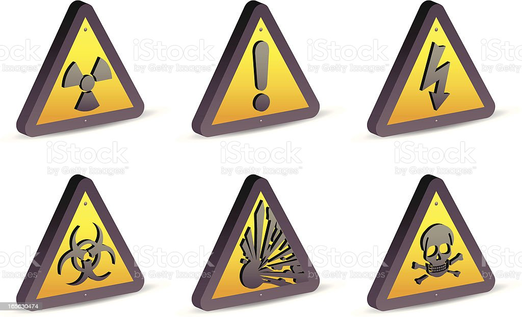 Warning and Hazard Signs (3D) royalty-free stock vector art