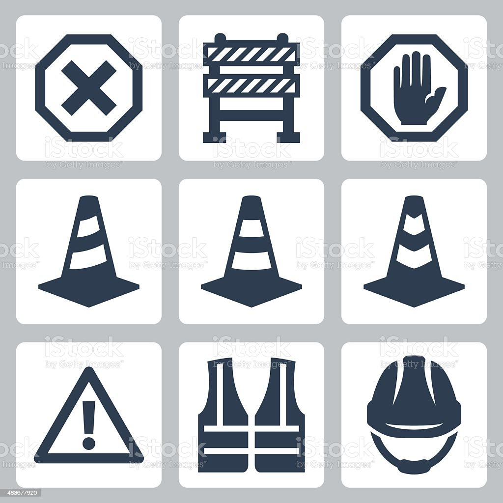 Warning and job safety related vector icons set vector art illustration
