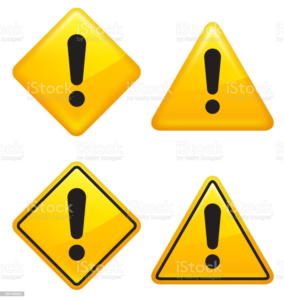 Warning attention caution Street Signs vector art illustration