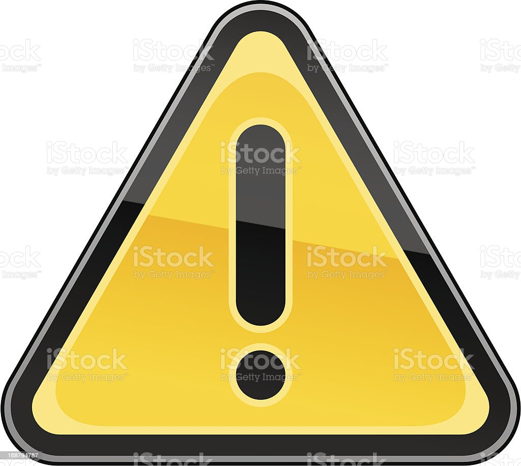 Warning attention sign black exclamation mark pictogram yellow triangular shape royalty-free stock vector art