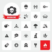 Warning base vector icons and label