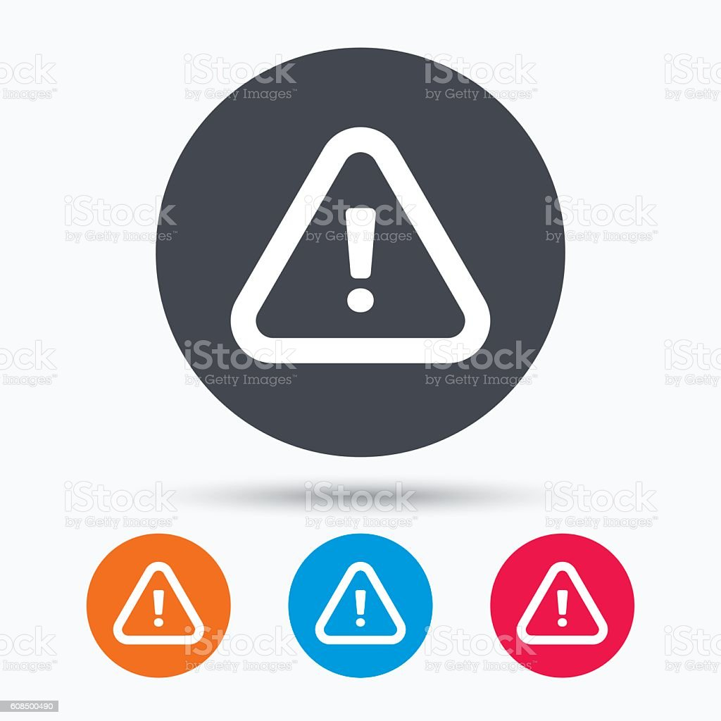 Warning icon. Attention exclamation sign. vector art illustration