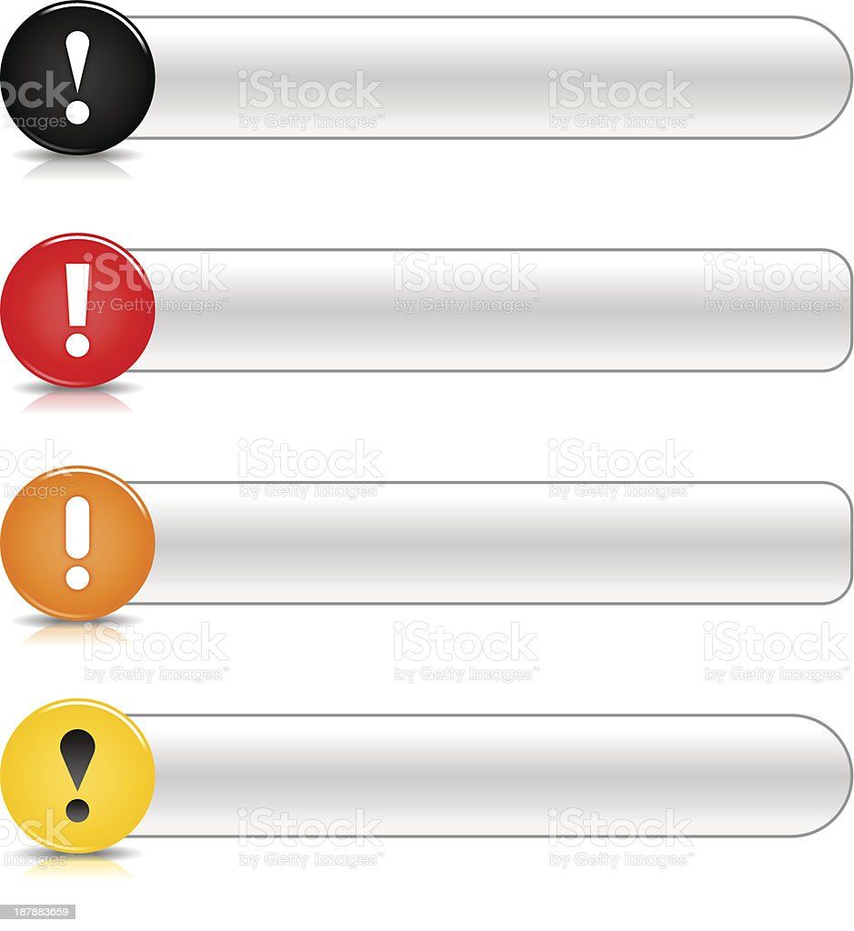 Warning icon exclamation mark glossy black red orange yellow button royalty-free stock vector art