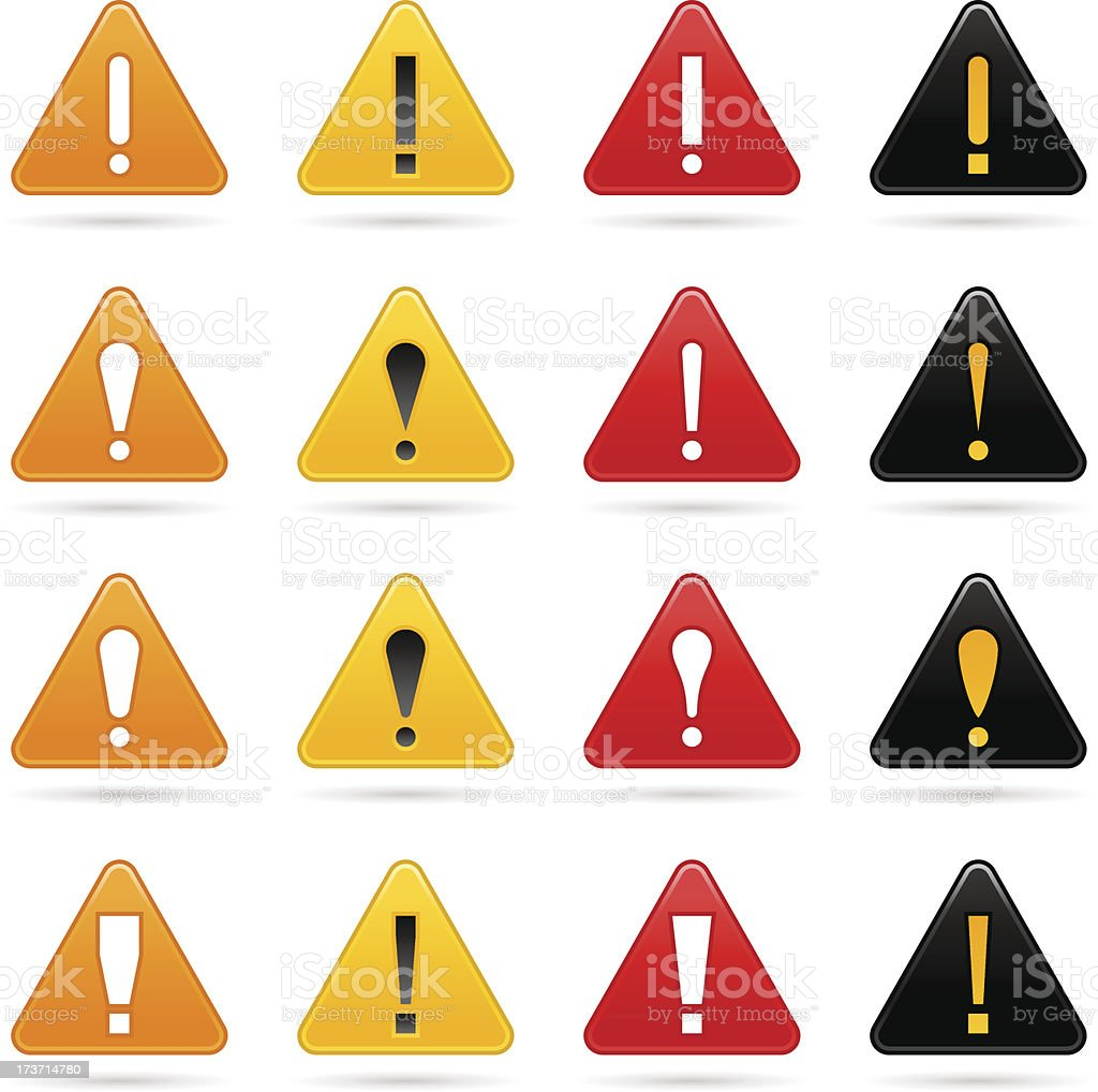 Warning icon exclamation mark sign color triangle button royalty-free stock vector art