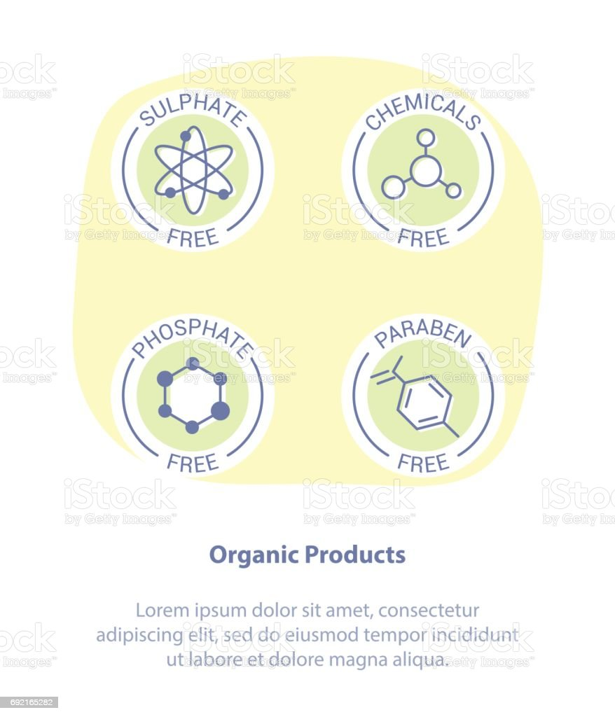 Warning Label Icons. Paraben, Sulfate, Phosphate, Chemicals Free Product Stickers vector art illustration