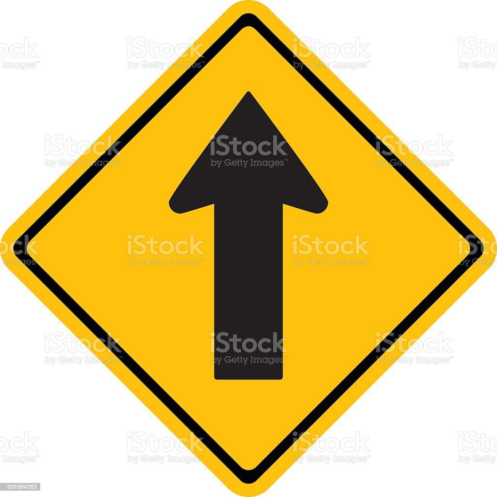 Warning One way traffic sign vector art illustration
