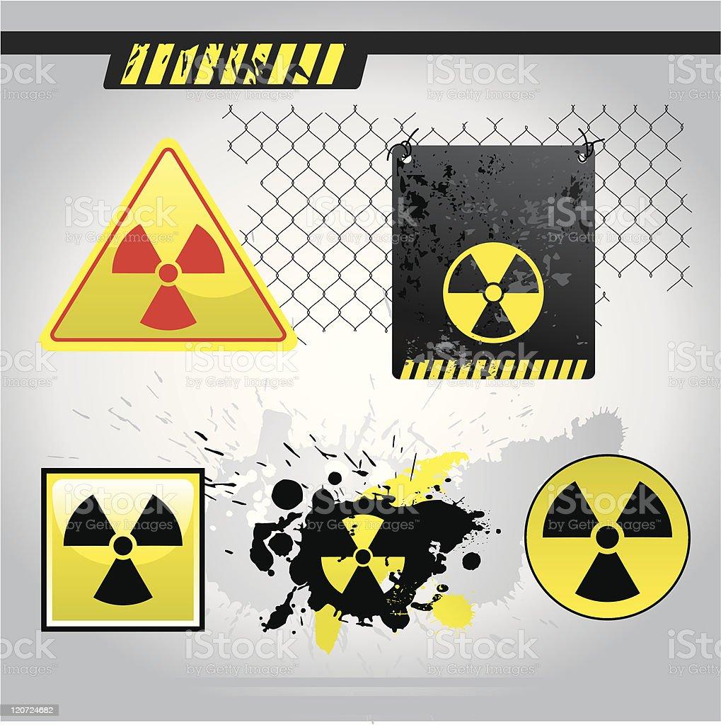 Warning radiation signs royalty-free stock vector art