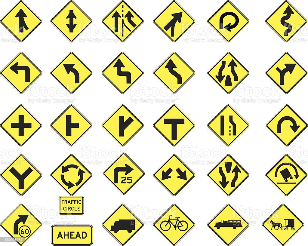 Warning road signs in vector format 2 royalty-free stock vector art