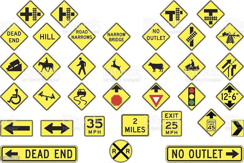 Warning road signs in vector format vector art illustration