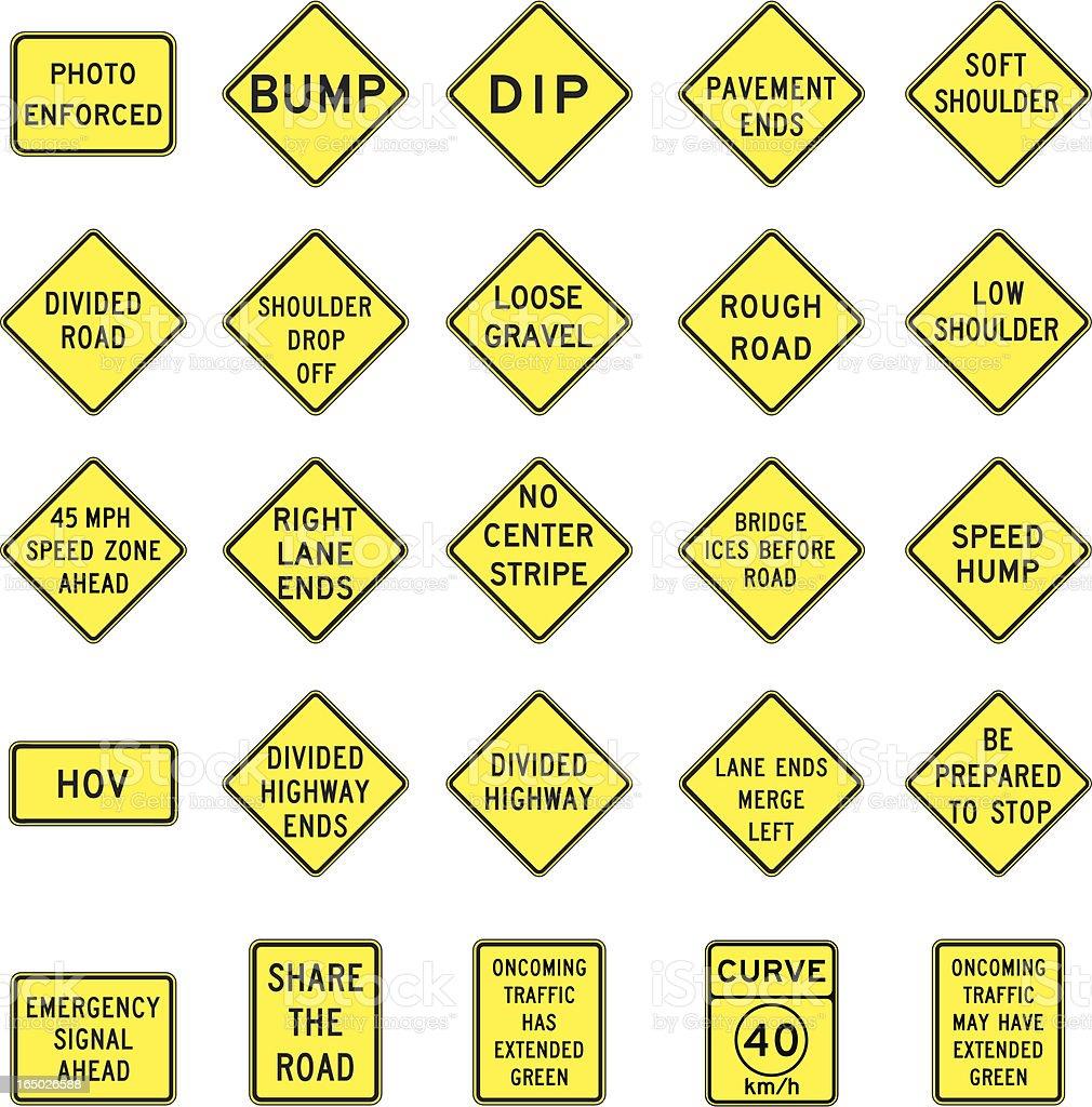 warning road signs in vector format royalty-free stock vector art