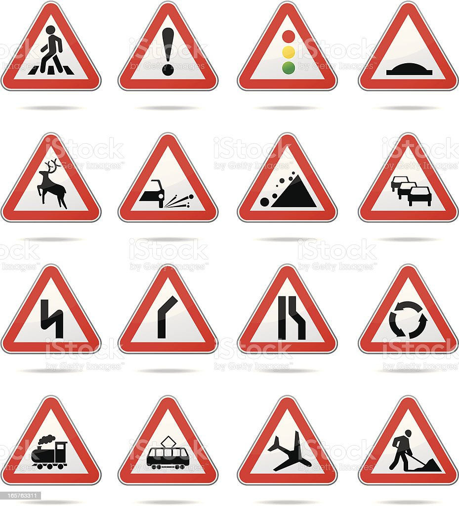 Warning road signs royalty-free stock vector art