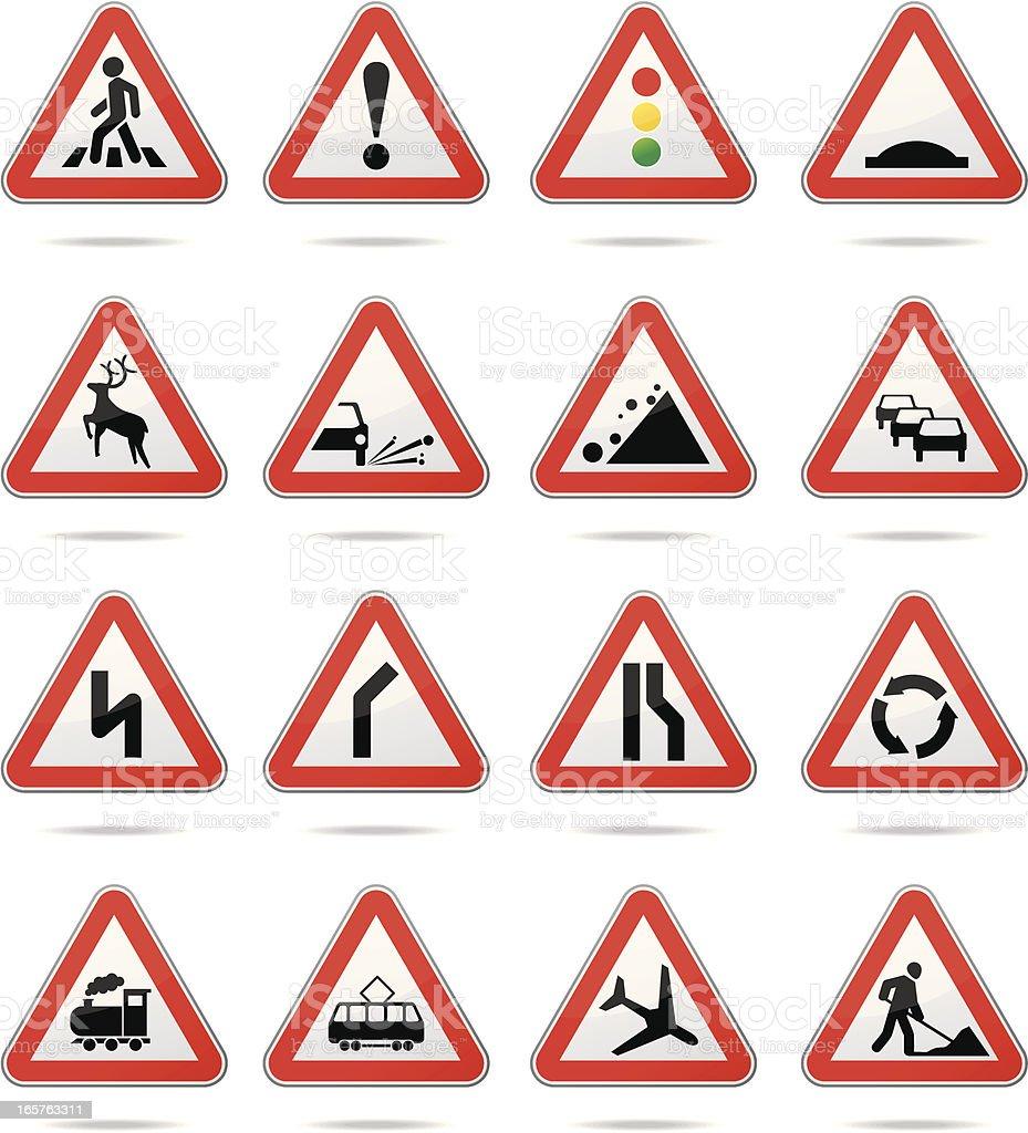 Warning road signs vector art illustration