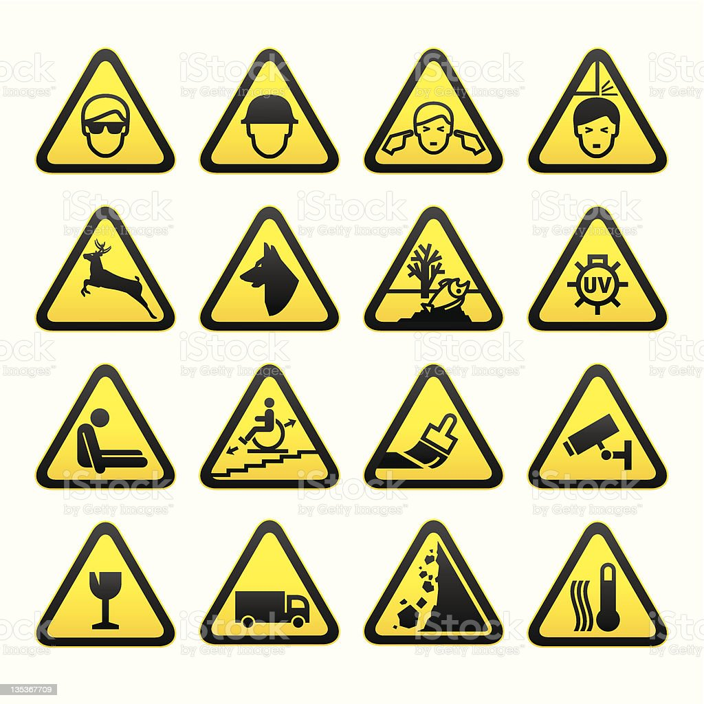 Warning Safety Signs Set vector art illustration