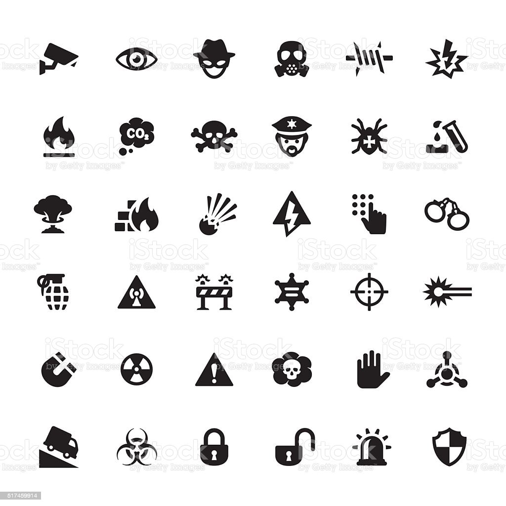 Warning & Security vector symbols and icons vector art illustration
