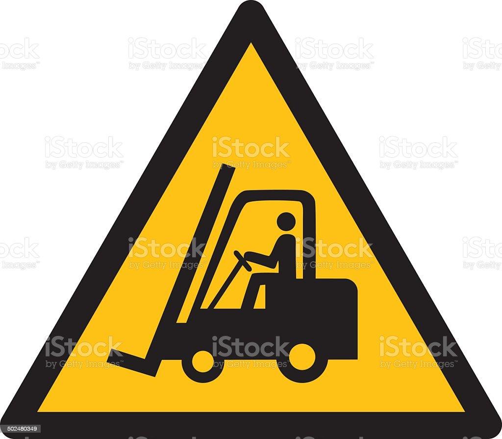 Warning sign, BEWARE FORKLIFT vector art illustration