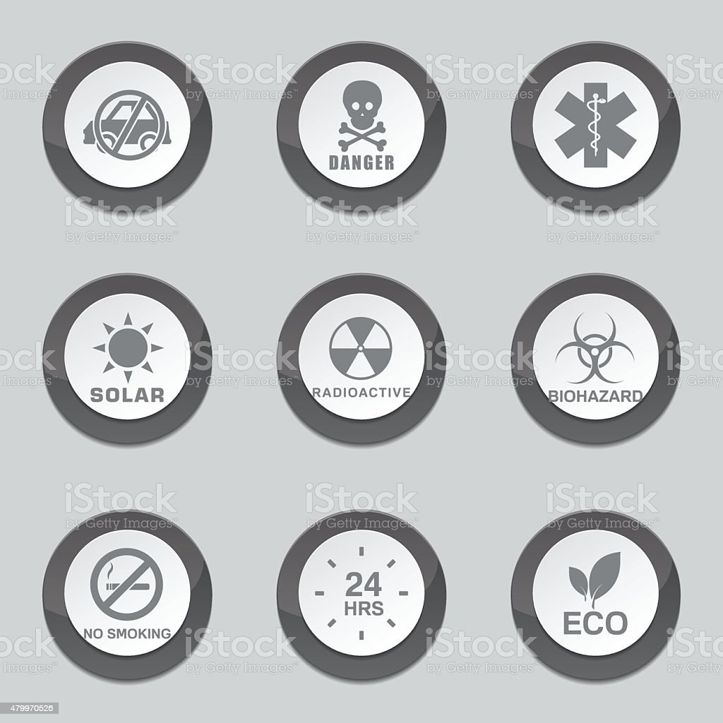 Warning Sign Black Vector Button Icon Design Set vector art illustration