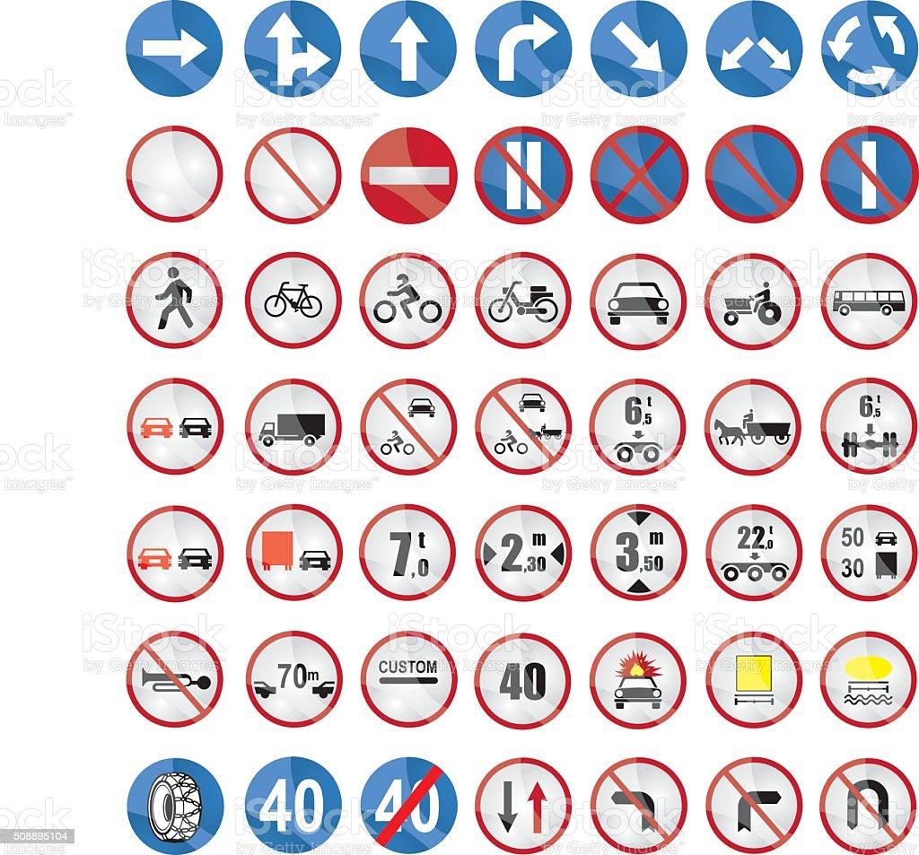 Warning sign collection vector art illustration