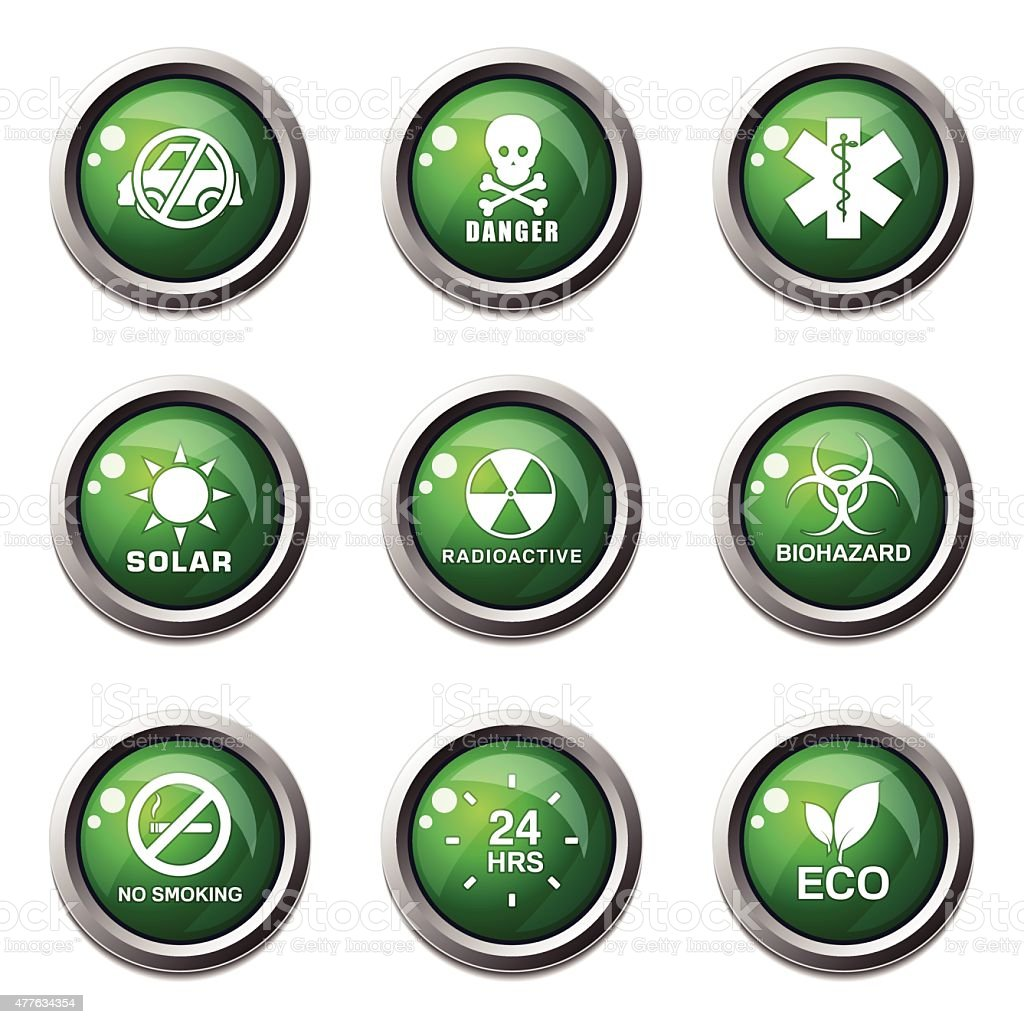 Warning Sign Green Vector Button Icon Design Set vector art illustration