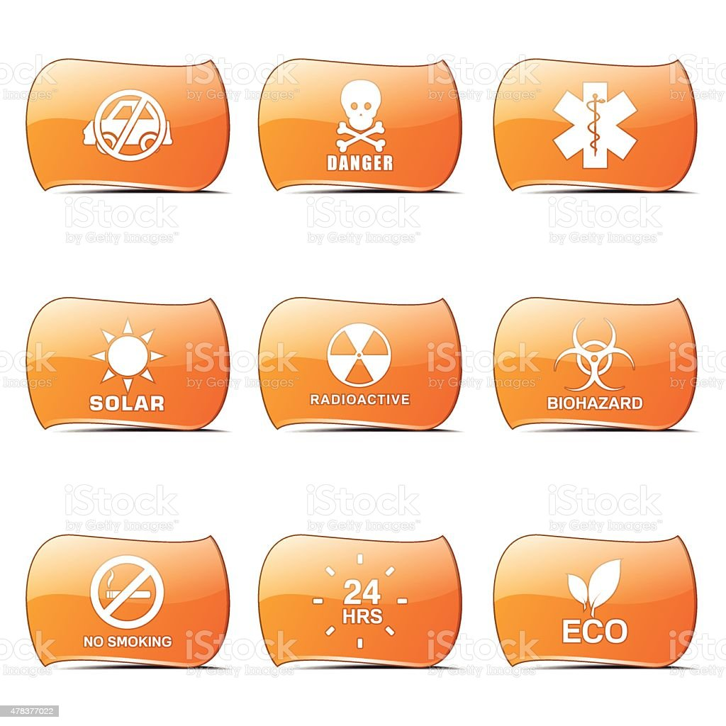 Warning Sign Orange Vector ButtonIcon Design Set vector art illustration