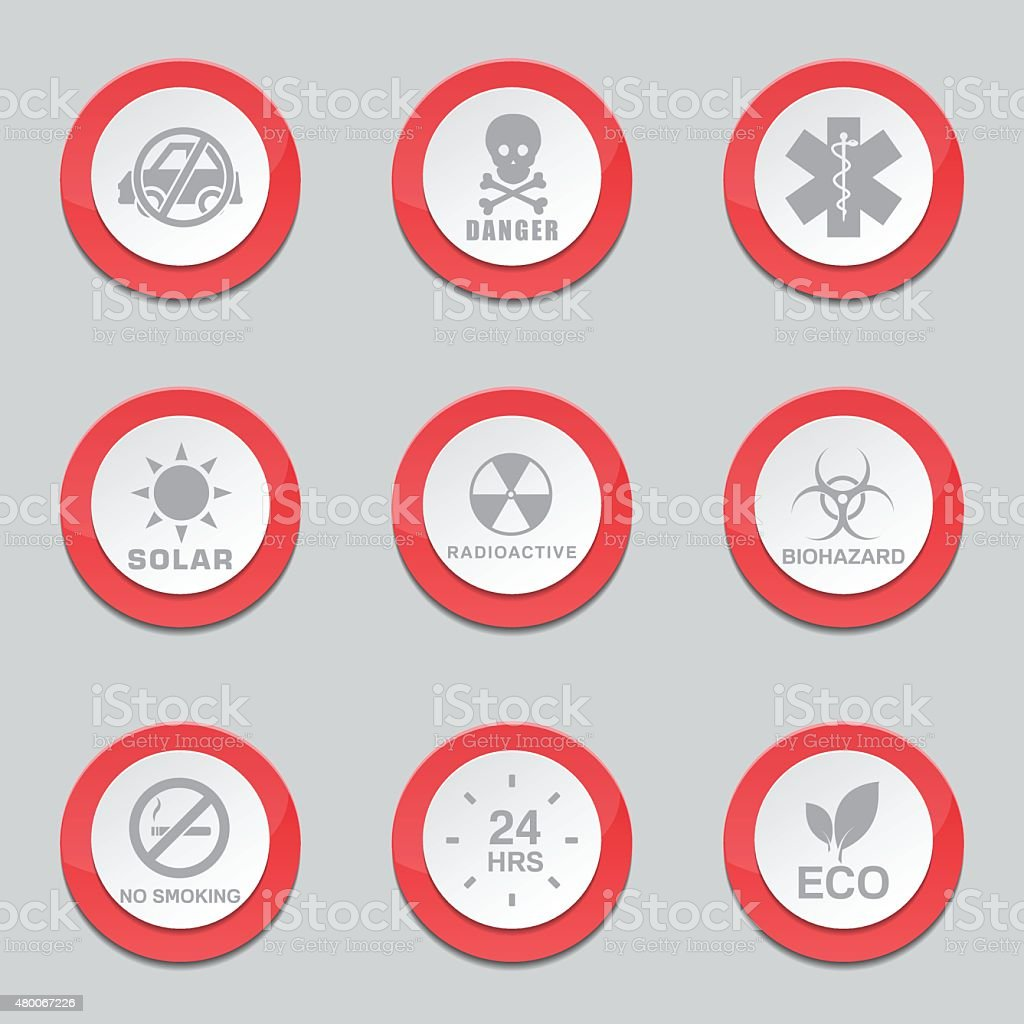 Warning Sign Red Vector Button Icon Design Set vector art illustration