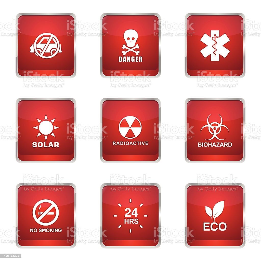 Warning Sign Square Vector Red Icon Design Set vector art illustration
