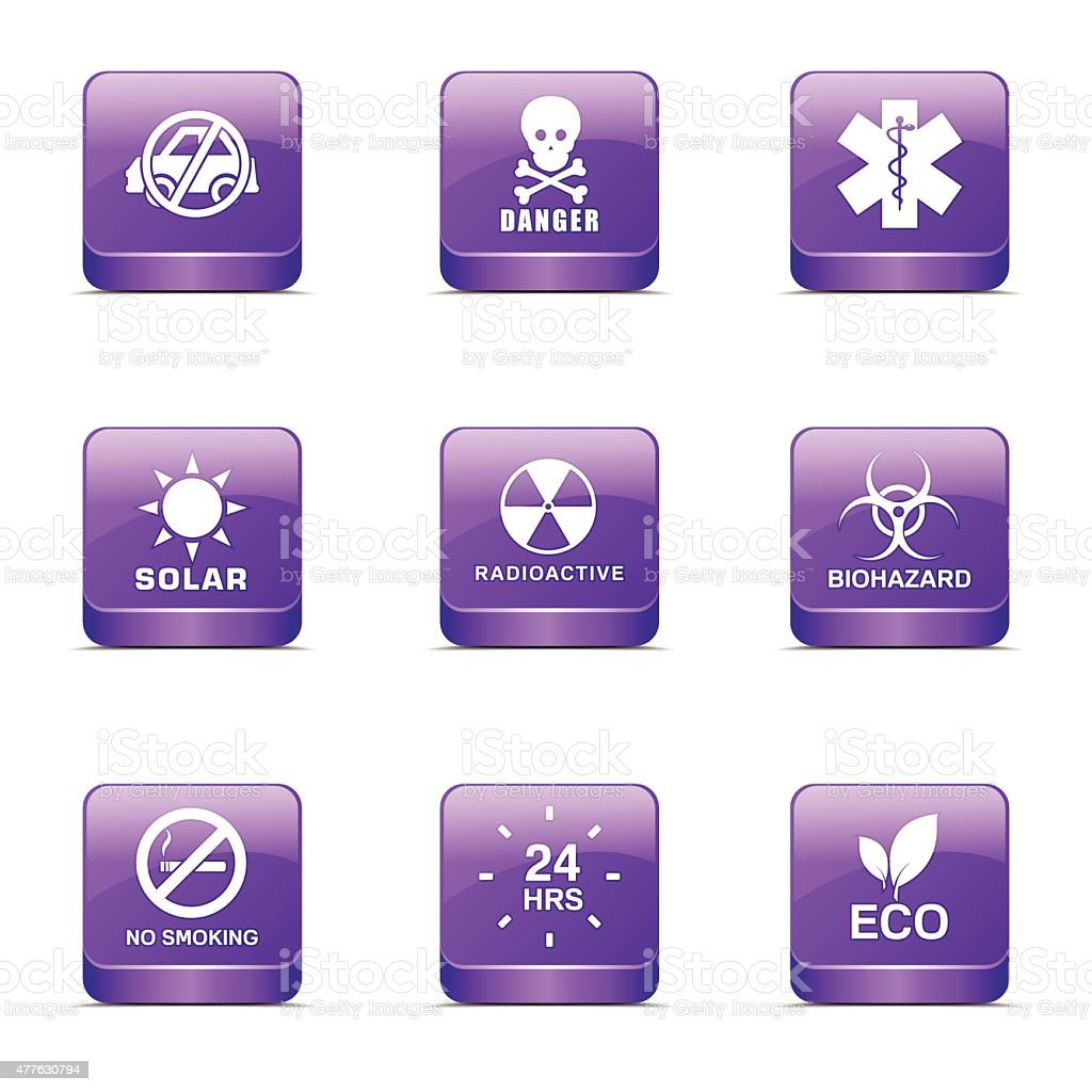 Warning Sign Square Vector Violet Icon Design Set vector art illustration