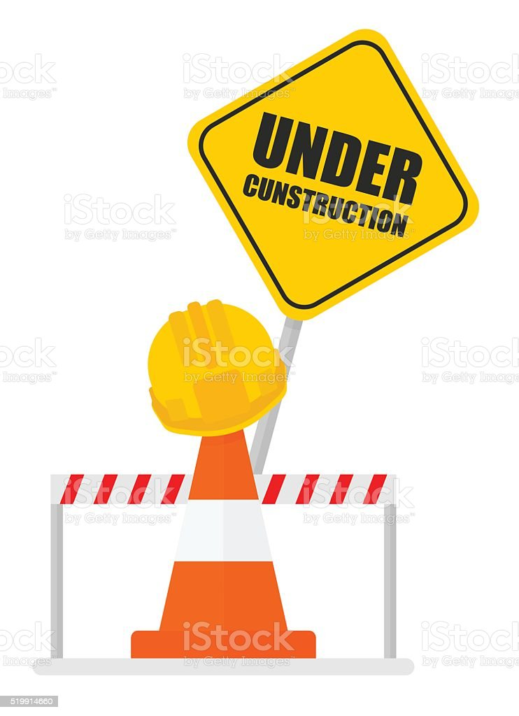 warning sign under construction signal tape vector art illustration