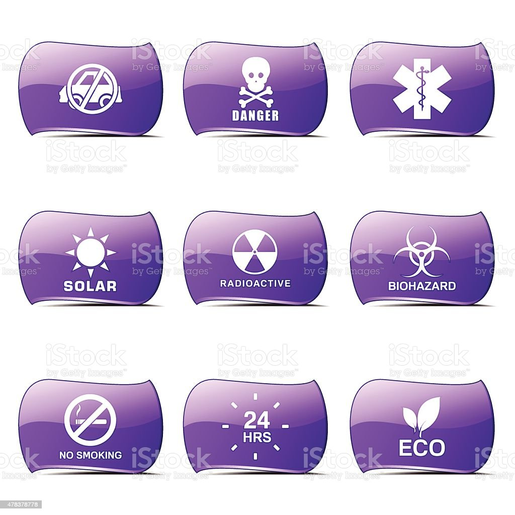 Warning Sign Violet Vector Button Icon Design Set vector art illustration