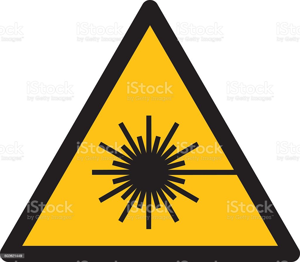 Warning sign WARNING FOR LASER BEAM vector art illustration