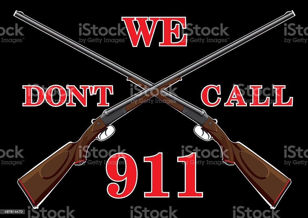 Warning sign with guns vector art illustration