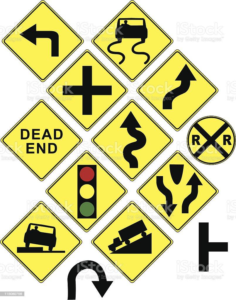 Warning signs / icons / arrows vector art illustration