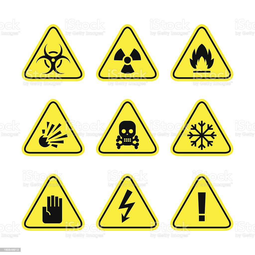 Warning signs of danger vector art illustration