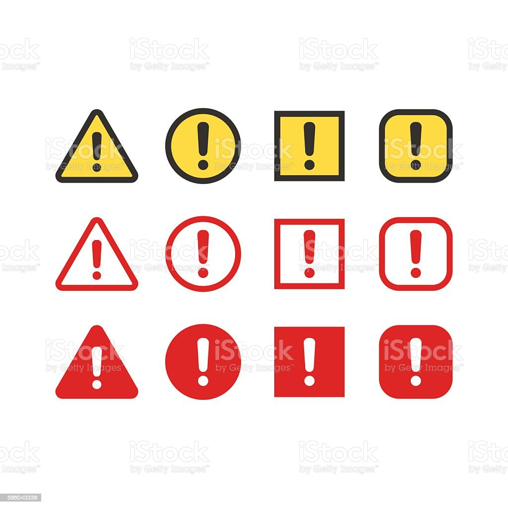 Warning signs set vector art illustration