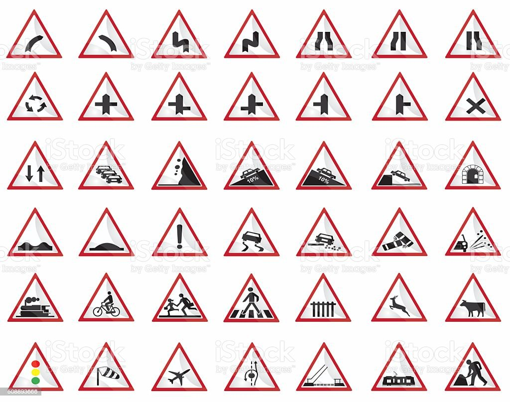Warning signs vector art illustration