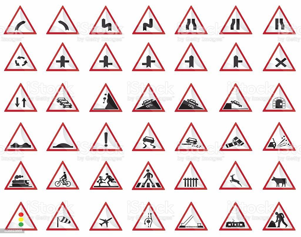 Warning signs vector art illustration