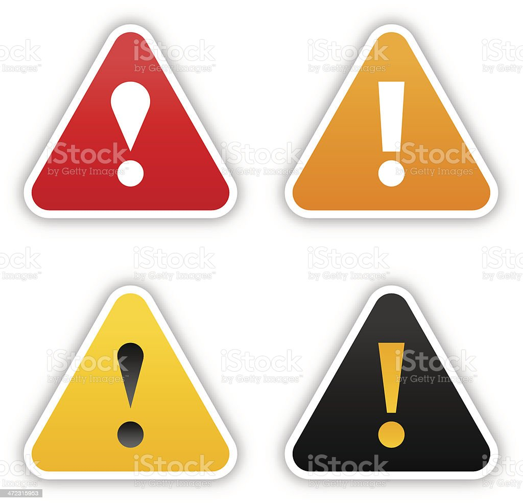 Warning sticker triangle label satin icon web button shadow vector art illustration