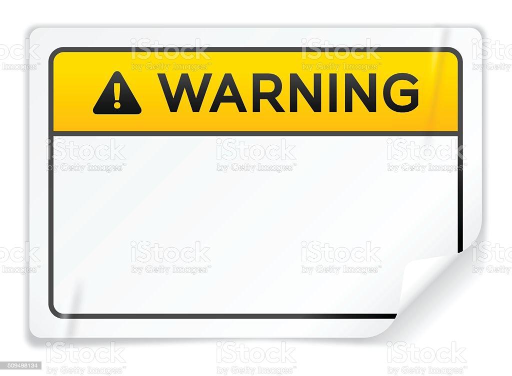 Warning Sticker vector art illustration