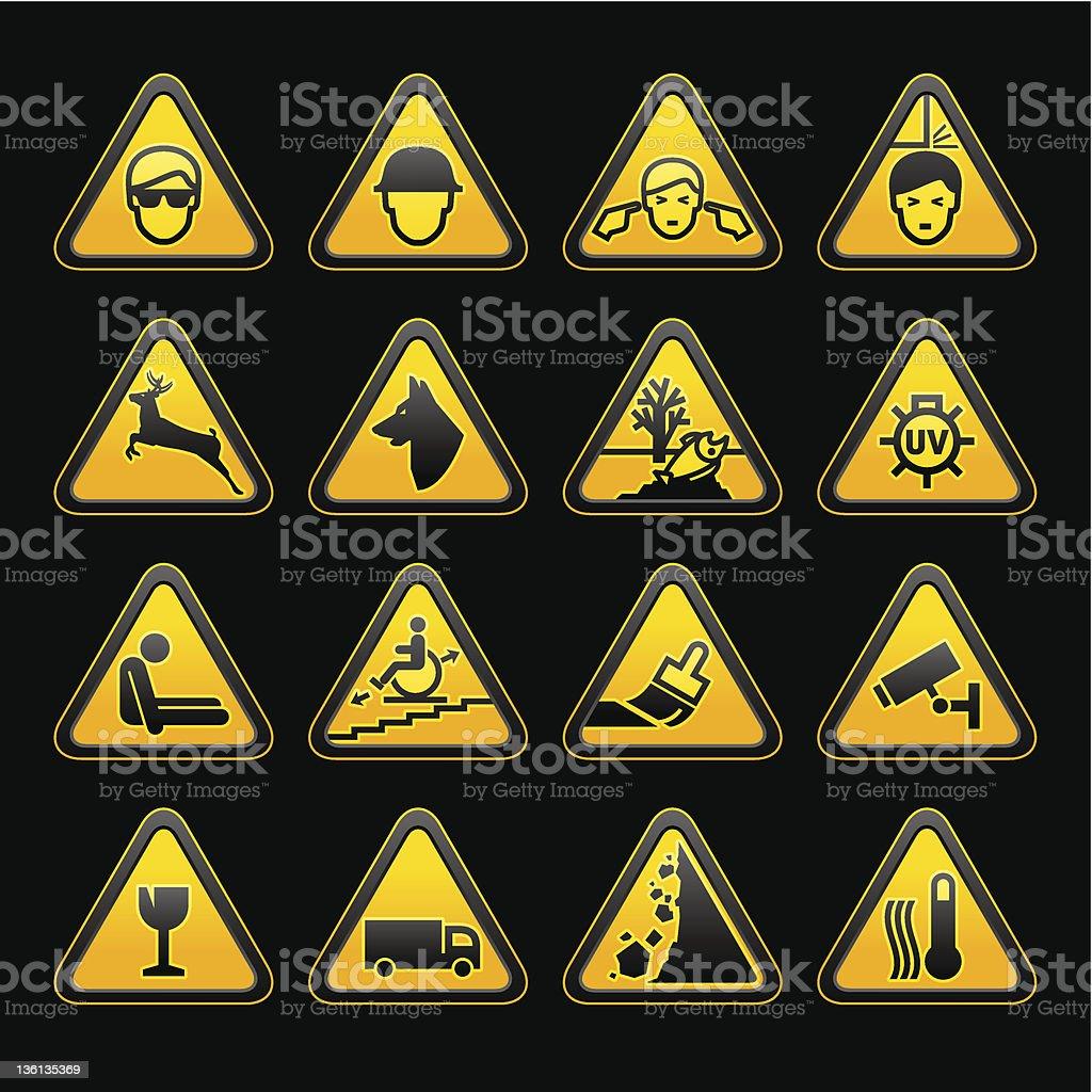 Warning symbols Safety signs set vector art illustration
