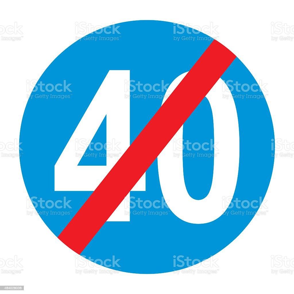 Warning traffic sign: End of minimum. vector art illustration